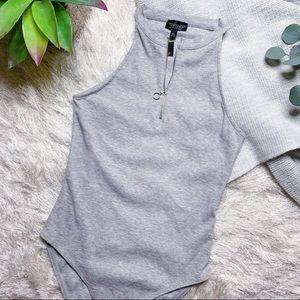 NWT Topshop Loop Zipper Bodysuit